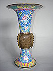 Rare 18th Century Chinese Enamel Vase - Gu - Qianlong