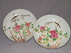 Rare Pair of Qianjiang Dishes by Zhang Ziying, Guangxu