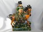 Fine Very Rare Ming Celestial Horse & Rider Ridge Tile