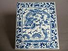 Rare Blue & White Porcelain Tile, probably 19th Century