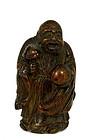 18/19C Chinese Bamboo Shoulo Sage Figurine