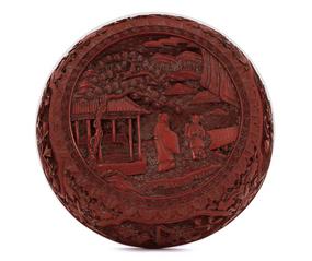 18/19C Chinese Cinnabar Lacquer Box Figurine