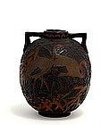Old Japanese Totai Cloisonne Ears Vase Crane