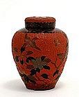 Japanese Red Totai Bark Tree Cloisonne Jar