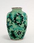 Japanese Cloisonne Blue Plique a Jour Vase