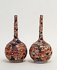 2 19C Japanese Imari Long Neck Vase Flowers