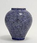 19C Japanese Blue White Imari Jar TakoKarakus