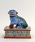 19C Chinese Export Enamel Famille Rose Fu Dog
