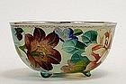Japanese Cloisonne Plique a Jour Bowl Flowers