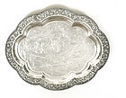 Early 20C Chinese Silver Dragon Tray Plate Mk