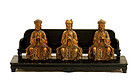 18/19C Chinese Trio Gilt Lacquer Wood Buddha Figure
