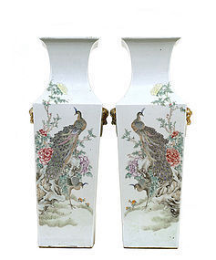Lg Early 20C Pair Chinese Famille Rose Vase