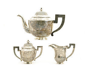 Early 20C Chinese Silver Tea Set Foo Fu Dog Lion Mk