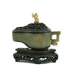 18/19C Chinese Jade Vessel Zitan Wood Cover & Stand