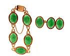 14K Gold Chinese Jadeite Bracelet Earrings Ring Ming's