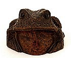 19C Chinese Bamboo Carved Toad Frog