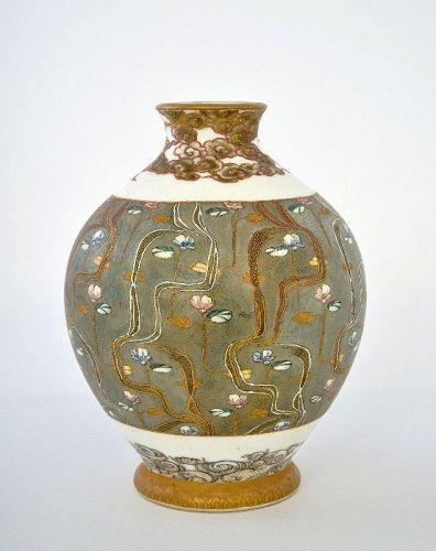 Meiji Japanese Kinkozan Satsuma Vase French Deco