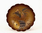 Old Japanese Makie Lacquer Bowl Rooster Drum
