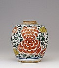 19C Chinese Famille Ming Sty Wucai Tea Caddy