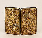 Old Japanese Iron Komai Cigarette Case Leaves