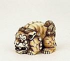 1930 Japanese Ivory Netsuke Shishi Fu Dog Sg