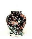 19C Chinese Famille Noir Flower Bird Jar Mk