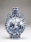 19C Chinese Blue & White Moon Vase Street Scene