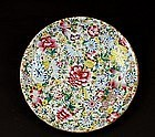 Old Chinese Famille Rose MilleFleur Charger