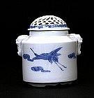 Meiji Japanese Blue & White Hirado Incense Censer Koro