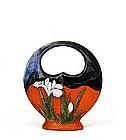 Old Japanese Sumida Gawa Iris Flower Hanging Vase