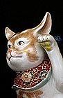 Meiji Japanese Kutani Bat Ears Welcome Cat Maneki Neko