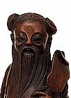 19C Chinese Bamboo Carved 8 Immortal Man Carry Fan