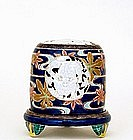 Old Japanese Kutani Cobalt Shishi Reticulated Censer