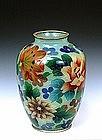 Japanese Cloisonne Plique a Jour Vase w Flowers