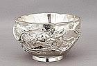 Meiji Japanese Silver Repousse Dragon Bowl Mk