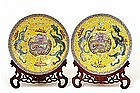 2 Old Chinese Yellow & Pink Famille Rose Dragon Plate