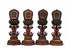4 19C Chinese Tibetan Lacquer Wood Buddha Altar Piece