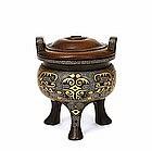 18C Chinese Gilded Bronze Censer