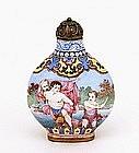 Chinese Export Enamel Cloisonne Snuff Bottle Cherub