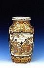 19C Japanese Early Yabu Meizan Satsuma Vase w Figurine