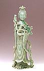 Lg Old Chinese Apple Green Jadeite Jade Quan Yin Figure