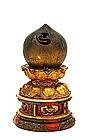 19C Japanese Bronze & Lacquer Buddha Houju Altar Piece