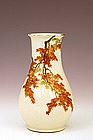 Meiji Japanese Yabu Meizan Satsuma Vase Maple Leaf