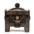 19C Korean Silver Inlaid Iron Censer Incense Burner