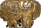 Meiji Japanese Bronze Jardiniere Elephant Herd