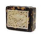17C Chinese White Jade Nephrite Plaque Box