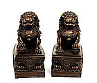 Pair of Large Old Chinese Bronze Fu Foo Lion Dog