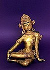 Old Tibetan Gilt Bronze Jewel Buddha 3 Eyes