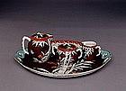 19C Japanese Fukagawa Tray Teapot Sugar Set