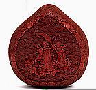 18C Chinese Cinnabar Lacquer Heart Shape Box Figure